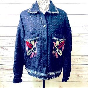 Anthropologie foxiedox Embroidered Tweed Jacket L
